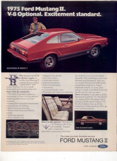 1975 MUSTANG II MACH 1 VINTAGE CAR AD RED