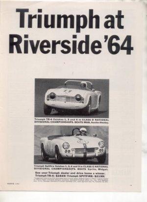 1965 TRIUMPH TR-4 TR4 VINTAGE CAR AD