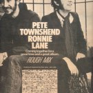 PETE TOWNSHEND RONNIE LANE ROUGH MIX PROMO AD 1977