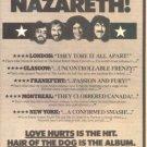 NAZARETH HAIR OF THE DOG PROMO AD 1976