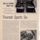 1962 TRIUMPH SPORTS SIX ROAD TEST CAR AD 2-PAGE