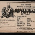 * ATLANTA INTERNATIONAL POP FESTIVAL HENDRIX HAVENS AD