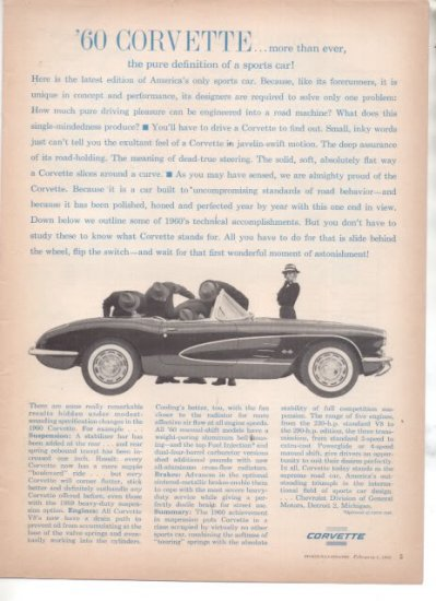 * 1960 CHEVY CORVETTE PHOTO PRINT AD
