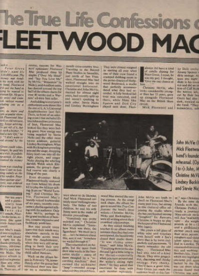 * 1977 FLEETWOOD MAC ARTICLE AD WRITE UP-8 PAGE
