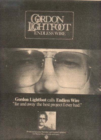 1975 GORDON LIGHTFOOT ENDLESS WIRE POSTER TYPE AD