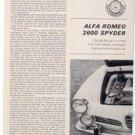 1964 ALFA ROMEO 2600 SPYDER ROAD TEST CAR AD