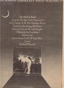 1977 ELTON JOHN GREATEST HITS VOLUME II POSTER TYPE AD