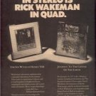 1974 RICK WAKEMAN IN QUAD POSTER TYPE AD