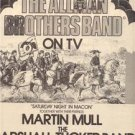 1973 THE ALLMAN BROTHERS BAND ON TV POSTER TYPE AD
