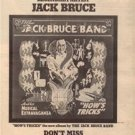1977 JACK BRUCE BAND HOWS TRICKS POSTER TYPE AD