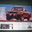 1989 FORD RANGER STX 4X4 VINTAGE TRUCK CAR AD 2-PAGE