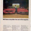 1969 CHEVY CAMARO SS CORVETTE VINTAGE CAR AD