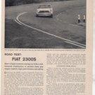1962 FIAT 2300S 2300 S ROAD TEST CAR AD