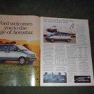 1985 FORD AEROSTAR VAN CAR AD 2-PAGE