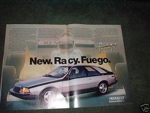 1982 RENAULT FUEGO RACY CAR AD 2-PAGE