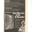 1977 APRIL WINE LIVE AT THE EL MOCAMBO CONCERT PROMO AD