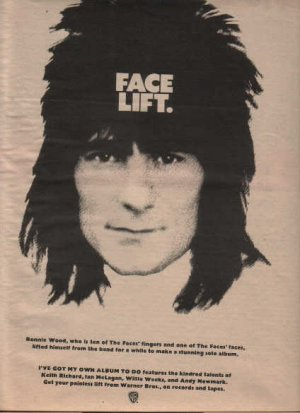 * 1974 RONNIE WOOD ROLLING STONES FACE LIFT PROMO AD