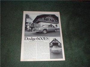 1983 DODGE 600ES 600 ES ROAD TEST CAR AD 5-PAGE