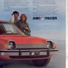 1975 AMC PACER VINTAGE CAR AD 2-PAGE RED