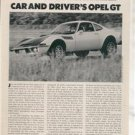 1970 1971 OPEL GT VINTAGE ROAD TEST AD 5-PAGE