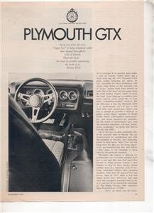 1970 1971 PLYMOUTH GTX VINTAGE ROAD TEST AD 4-PAGE
