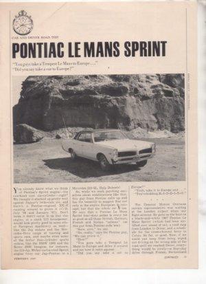 1967 1968 PONTIAC LE MANS LEMANS SPRINT ROAD TEST AD