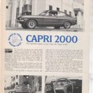 1971 1972 CAPRI 2000 VINTAGE ROAD TEST AD 2-PAGE