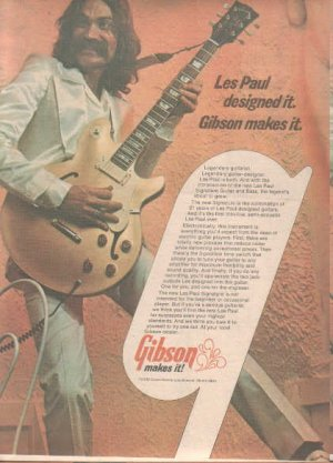 * 1974 GIBSON LES PAUL GUITAR POSTER TYPE PROMO AD