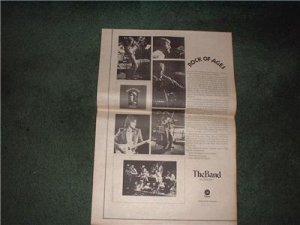 1972 THE BAND ROCK OF AGES POSTER TYPE  AD