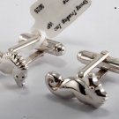 "NEW DESIGNER COLLECTIBLE SILVER PLATED BRASS ""SEA HORSE"" CUFF LINKS NWOT"