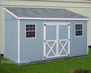 4' x 12' Lean To Roof  Style Garden Shed Project Plans #E0412
