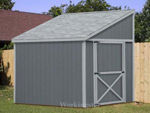 6 39 x 8 39 lean to shed plans how to build a storage shed e0608 for Slant roof shed plans