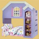Children's Dollhouse Loft/bunk Bed Woodworking Plans, Design # 1DLLH