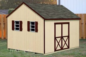 12' X 12' Gable Roof Style Storage Shed Plans, Design #E1212