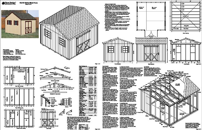 Details about 12'x12' Gable Garden Storage Shed Plans, Free Samples