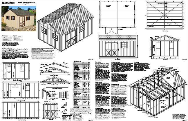 12 39 x 16 39 backyard garden gable garden storage shed plans for Free shed design software with materials list