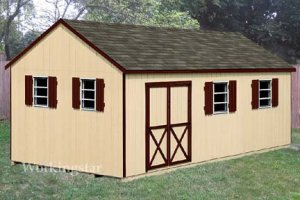 12' x 20' Gable Storage Shed Blue Print Plans, Design #E1220