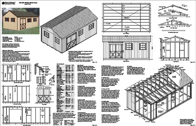 12 39 x 20 39 gable backyard storage shed plans material list for Gable barn plans