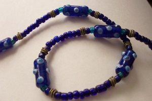 Cobalt Blue Lampwork Glass Bead Choker Necklace