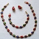 Vintage Holiday Enamel Necklace Bracelet Ear Set