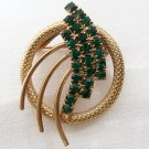 Vintage Green Rhinestone Brooch St. Patricks Day