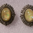Vintage Foil Oval Opal Earrings Spring Yellow Silver Tone