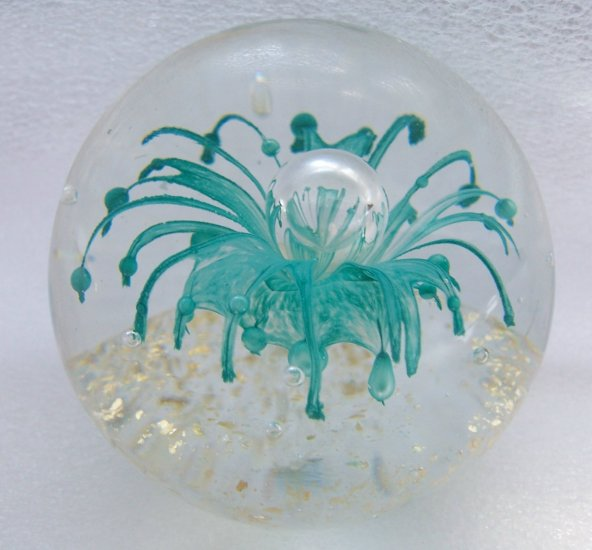 Aqua Blue Spider Lily Flower Bubble Mica Glass Paperweight