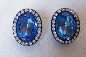 Vintage Retro 60s Blue Glass Stone Rhinestone Chunky Clip Earrings