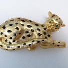 Vintage Big Cat Leopard Cheetah Jaguar Green Eyes Figural Brooch