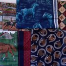Horse Tapestry & Cotton Fabric Pillow Panels Craft Pieces Lot