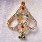 Vintage Sparkling Rhinestone Christmas Tree Pin Brooch