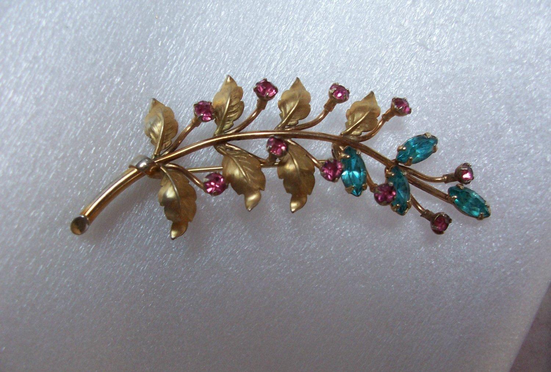 Vintage Aqua Pink Rhinestone Floral Brooch Signed REGAL
