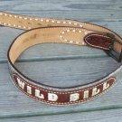 Vintage JUSTIN Mens Western Tooled Leather Cow Hide Hair Name Belt WILD BILL Sz 36