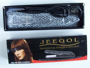 JEEGOL Ceramic Hair Straightening Styling Iron NIB Curl Flip Wave Straighten